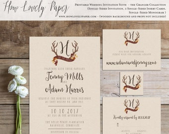 Printable Fall Wedding Invitation Suite - the Granger Collection