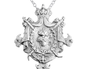 Sacred Heart of Jesus Royal Shield Catholic Religious Symbol Christian Love Charm Pendant Necklace #925 Sterling Silver #Azaggi N0132S
