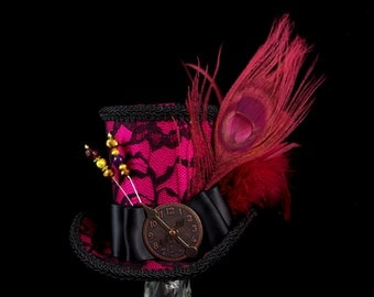 Black Lace over Fuchsia Pink Large Mini Top Hat Fascinator, Alice in Wonderland, Mad Hatter Tea Party, Derby Hat