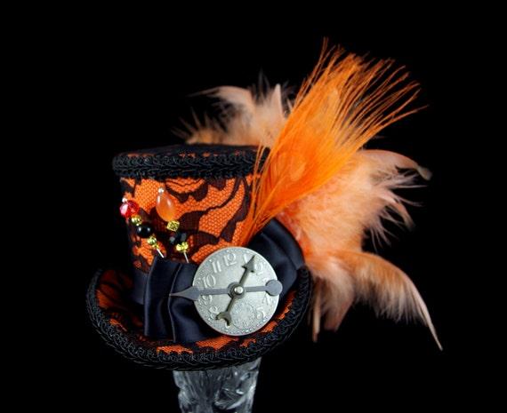 Orange and Black Lace Peacock Medium Mini Top Hat Fascinator, Alice in Wonderland, Mad Hatter Tea Party, Derby Hat