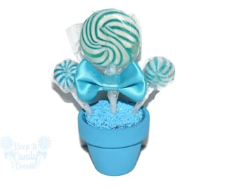 Light Blue Lollipop Mini Favor, Light Blue Wedding Favor, Candy Favor, Edible Favor, Candy Birthday Favor, Baby Shower Favor, Wedding Candy