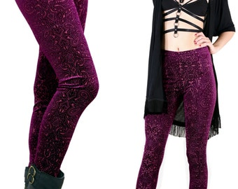 90's Wineberry Victorian Burnout Velvet Leggings