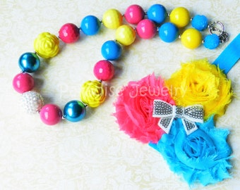 Chunky Necklace Flower Headband Hot Pink Blue Yellow Little Girls Photo Prop Birthday Outfit Toddler Baby Girl Hair Bow Bubblegum Necklace