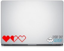 "Pixel heart - life meter - vinyl decal  - great for car window - 1.5"" high - set of 3 hearts - life containers - one color"