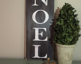 NOEL Painted Wood Sign - Christmas Sign - Distressed Rustic Antiqued sign - Rustic Home Decor - Christmas Wall Decor