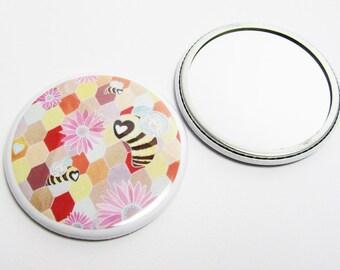 Bee Pocket Mirror - Round Mirror - Printed Mirror - Flower Mirror - UK Seller