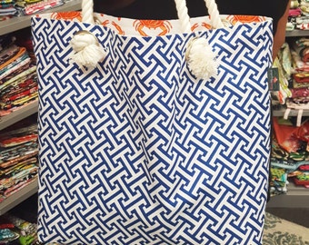Beach bag, Pool tote, Tote bag, Navy blue, Crabs
