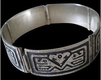 Iconic Mid-century MEXICO Mexican Handwrought .925 Sterling Silver Overlay Tribal Aztec Two Headed Snake Serpent PANEL BRACELET~29 Grams!