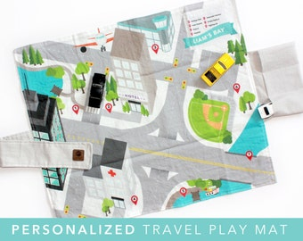 PERSONALIZED Travel Play Mat - Downtown City Car Mat | Folding Car Mat | Kids Travel Activity | Play Car Mat