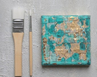 gold leaf art, acrylic painting, 4x4, turquoise painting, contemporary art, original painting, abstract, impasto painting, #11, berlin