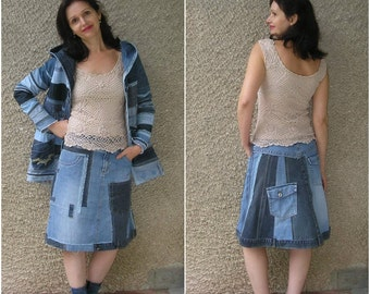 S-M. Artsy asymmetric denim skirt, Eco-friendly handmade Clothing by EcoClo