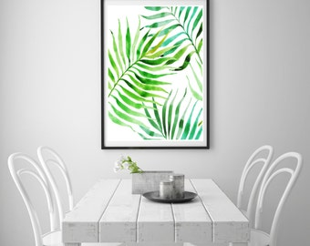 Watercolour Palm Leaves Printable Wall Art Print