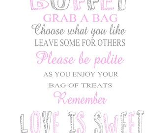 INSTANT DOWNLOAD Candy Buffet Sign, Pink Candy Sign, Wedding Candy Sign