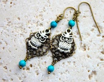 Owl Earrings, Turquoise Earrings, Filigree Dangles, Boho Earrings, Mixed Metal Earrings, Lightweight Earrings, Bird Jewelry, Brass Earrings