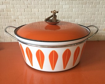 Large Grete Prytzkittelsen for Catherineholm Tangerine Lotus Pattern Dutch Oven