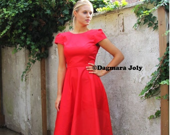 Red midi dress,  below knee dress, red dress, cap sleeve black dress, V neck prom dress, evening wear, evenig dress