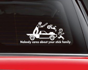 Jason Friday 13th, Nobody Cares about your stick figure family, car decal