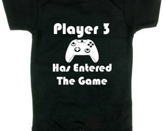 Player 3 has entered the game, pregnancy announcement,  Baby Shower Gift, Onesie, Funny Baby Shower Gift, Baby Shower, Offensive Baby Onesie
