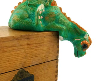 Dragon Figurine - Dragon Sculpture - Graduation Gifts - Fantasy - Dragon Home Decor - Ceramic Dragon - Teal  Dragon - Green - Painted Statue