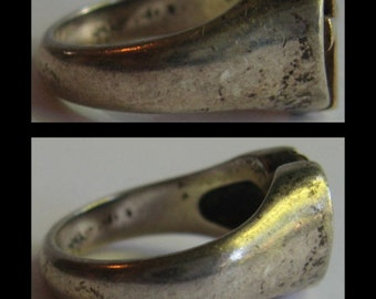 JAMES AVERY vintage sterling silver 14k gold cross ring - SIZE 6