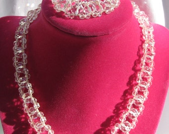 Stunning Cut Crystal Threaded Demi Parure, Necklace and Matching Bracelet, White Gold Filled Clasps, Bridal