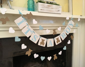 Teddy Bear Baby Shower Decorations It's a Boy Shower It's A Girl Banner Teddy Bear Garland Custom Colors Your Choices Oh Boy Shower