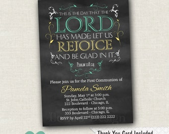 Chalkboard First Holy Communion Invitation - Psalm Invitation - 1st Communion -  Printable Invite - Religious Invite