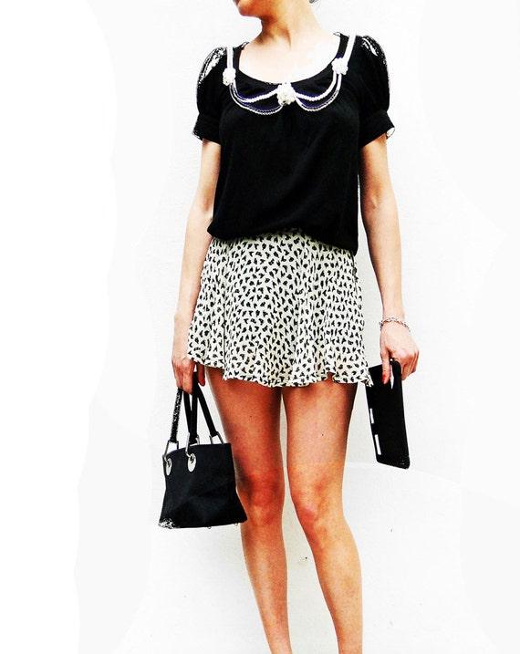 Moschino chicken print skort mini skirt - 90s