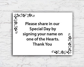 Instruction Card for Guest Book Tree with Hearts, Guestbook Poster, Baby Shower, Bridal Shower, Instant Download Printable File 5x7""