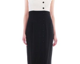 Vintage Black and White Maxi Dress 90's Liz Claiborne Modernist Color Block Minimalist Retro Clothing Women's Size Medium