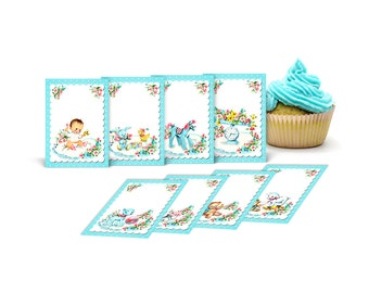"""Retro baby ATC ACEO cards / printable cards / digital collage sheet /  2.5"""" by 3.5"""" / scrapbook embellishments / tags, labels, stickers"""