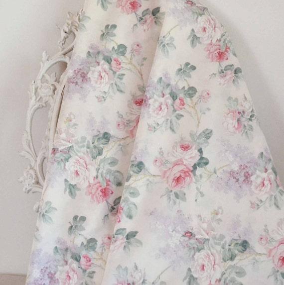 Tissu vintage sanderson bouquets de fleurs shabby chic for Tissu shabby chic