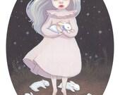Vampire Girl with Bunnies Print - Creepy Cute Illustration - Halloween Art