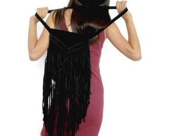 Black Boho fringe purse , Leather fringe bag in black , suede fringe purse , Boho suede fringe bag