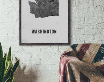 Washington State Printable Map Art, Black White, Modern Map Art, Industrial Map Art, Loft, Cafe, Cottage Chic, 5x7 8x10 11x14 16x20, E047