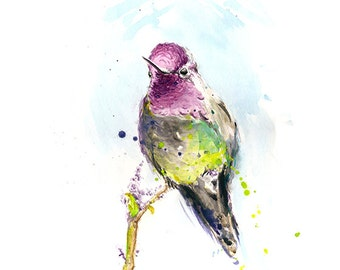 ORIGINAL BIRD PAINTING - bird art, nature art, watercolor hummingbird painting, bird lover gift, bird home decor