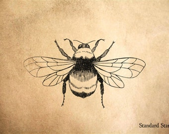 Bumble Bee Rubber Stamp - 3 x 2 inches