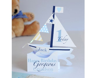 Larger size Personalised Pop-up Sailing Boat card for a Baby son/Grandson/Nephew/Godson's 1st Birthday.