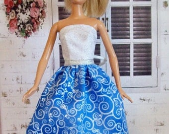 Barbie Clothes, Handmade,  Blue and White, Silver Metallic, Sparkle, Party Dress, Fashion Doll Dress, Doll Dress, Barbie Dress, Doll Clothes