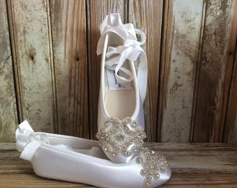 Flower Girl First Holly Communion Ballet Flat Ankle Tie Rhinestone Front White or Ivory