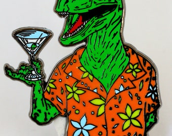 BOOZING REPTILE hat PIN!!! Hunter S. Thompson inspired collectible!