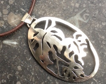 Sterling silver pendant with leafs from plant handmade
