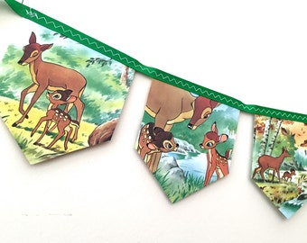 Vintage BAMBI Bunting Banner - Childrens Room Nursery Decor Party Decoration Story Book