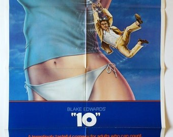 "Movie Poster  Blake Edwards  ""10""  Original 1979 Movie Poster One-Sheet -  Dudley Moore, Julie Andrews, Robert Webber,  Bo Derek"