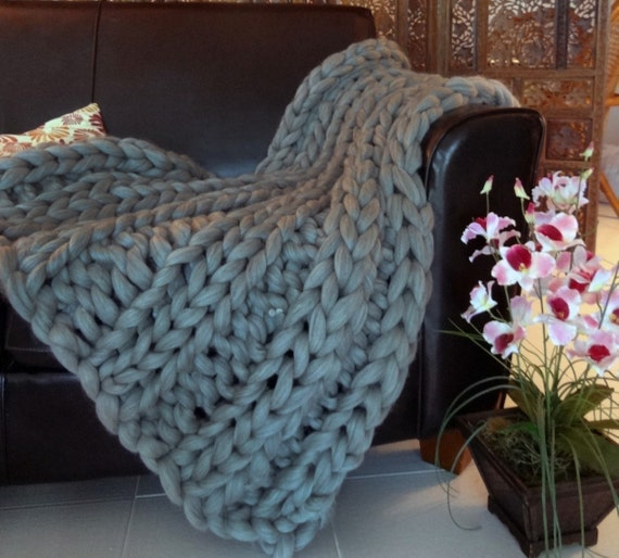 Chunky Blanket, Grey, 30x50 Pure Merino Wool, knit blanket, chunky throw,
