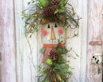 Scarecrow door hanger,Fall Door Hanger,Burlap Scarecrow Wreath, Fall Scarecrow Door Hanger, Fall Wreath Alternative, Burlap Fall Door Hanger