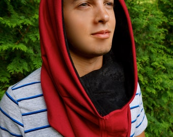 Red Cowl Festival Hood With Built In Hidden Pocket