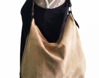 Cognac leather hobo bag with braided handle