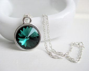 Emerald green necklace, green crystal Swarovski jewelry, sterling necklace, dark green pendant, handmade