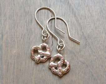 Pink Pretzel Fast Food Sterling Silver Earrings